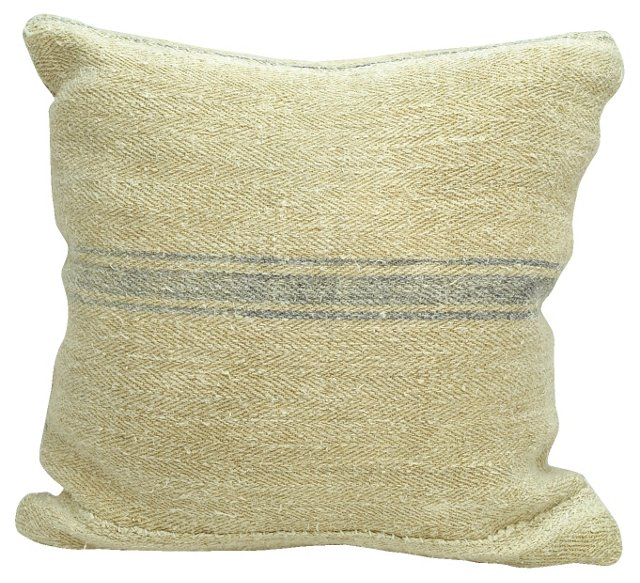 Periwinkle-Striped    Linen Pillow