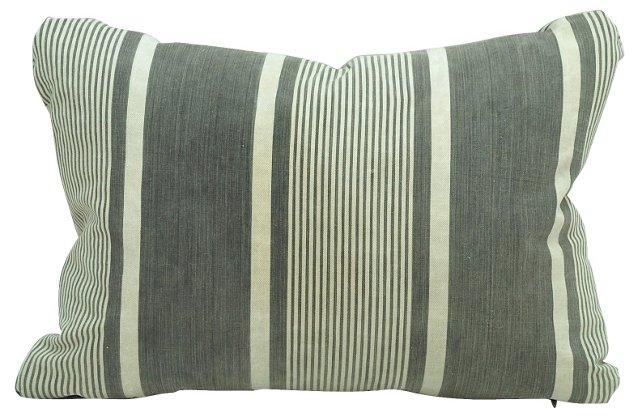 Gray  French Ticking Boudoir  Pillow