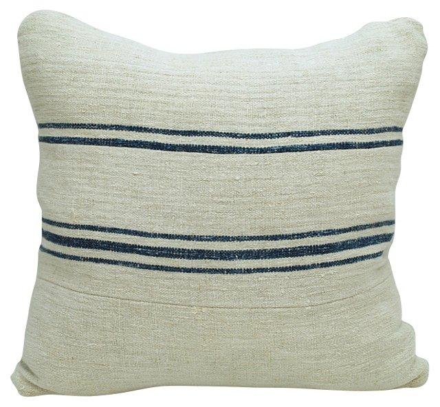 Blue-Striped Linen Pillow