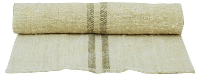 Linen Table Runner w/ Taupe Stripes