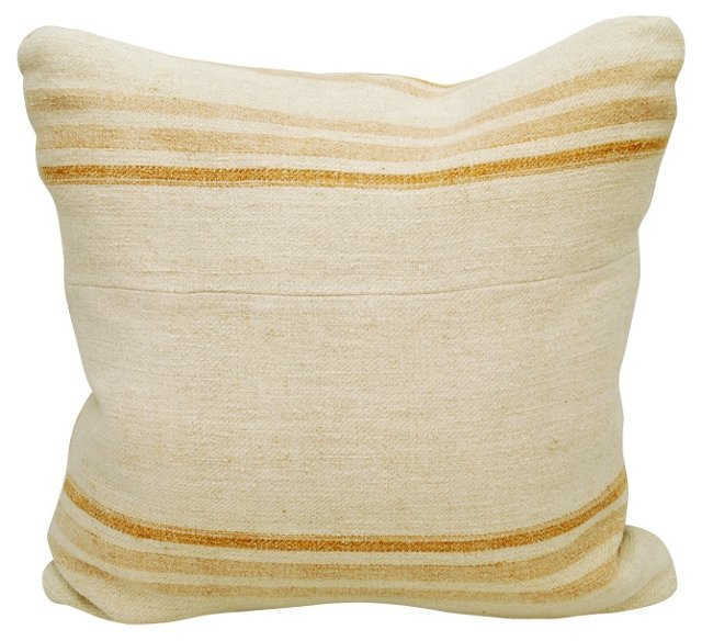Faded-Orange Striped Linen Pillow