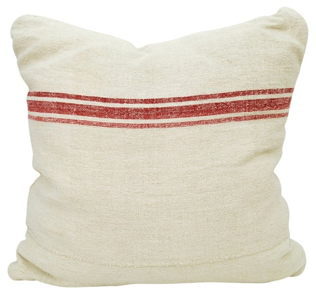 Red-Striped    Linen Pillow