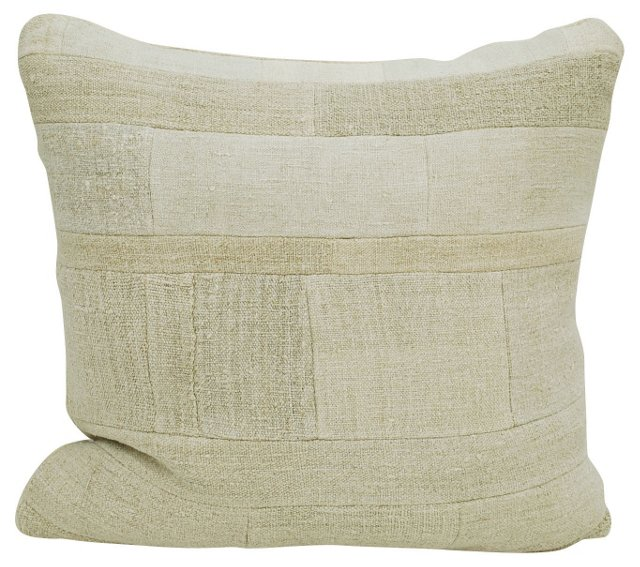 Small   Beige Patchwork    Pillow