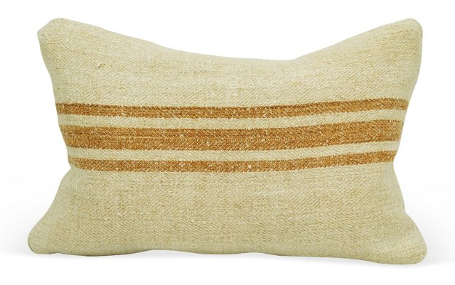 Orange Striped Linen Boudoir    Pillow