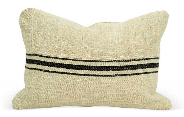 Black-Striped Linen  Boudoir Pillow