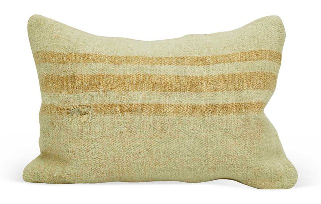 Light Orange-Striped Grain   Sack Pillow
