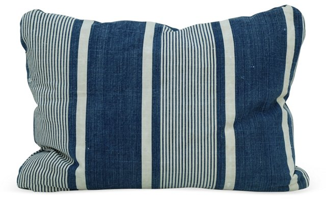 Blue   French Ticking Pillow