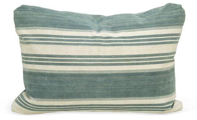 Blue   French  Ticking Boudoir Pillow