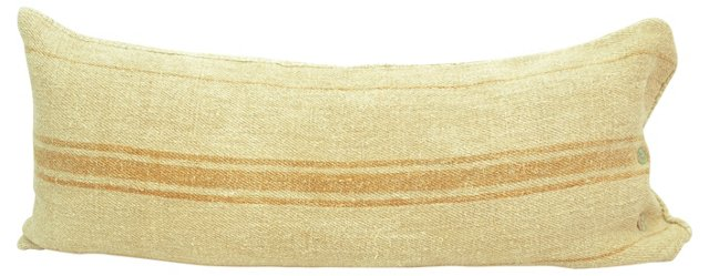 Linen Body Pillow, Orange Stripes