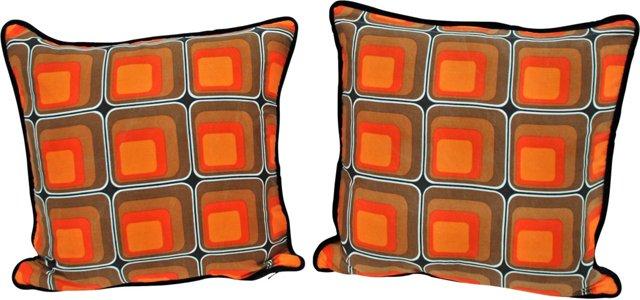 Orange Scandinavian Pillows, Pair