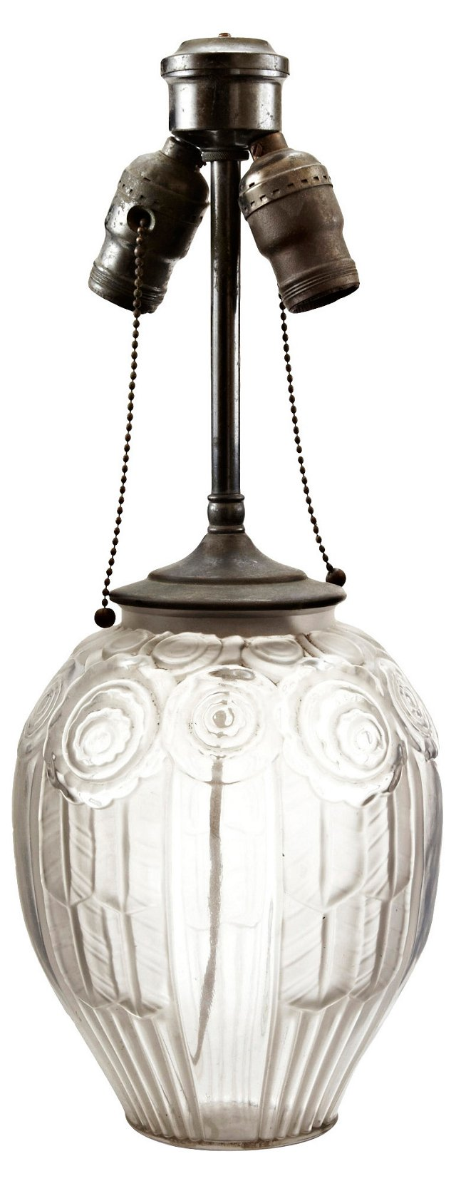 French Art Deco Etched Glass Lamp