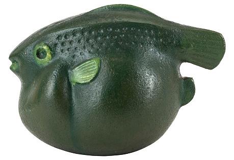 Green Blowfish Sculpture
