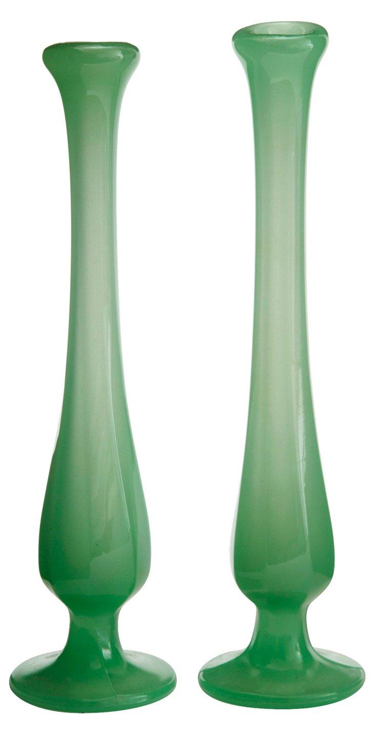Green Opaline Glass Bud Vases, Pair