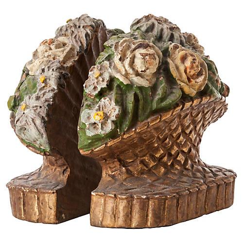 Carved-Wood Flower Basket Bookends