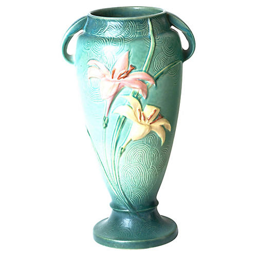 Floral Art Pottery Floor Vase w/ Lilies