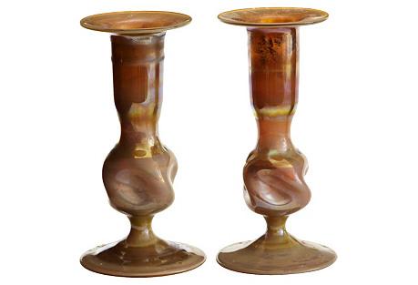 Iridescent Art Nouveau Candleholders, Pr