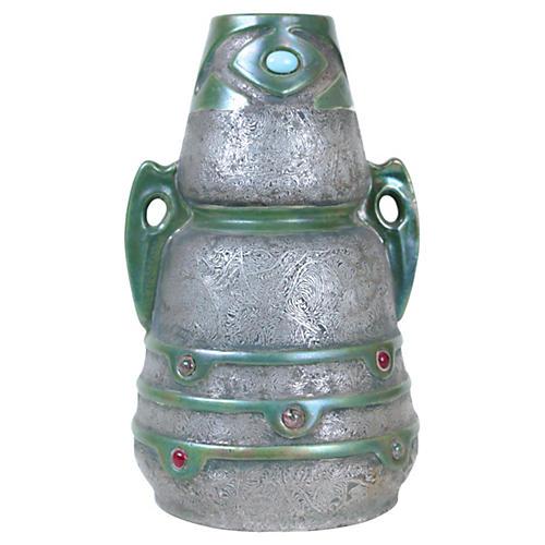 Jeweled Austrian Art Nouveau Vase