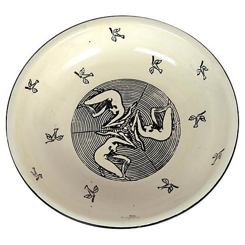 Art Deco Bowl w/ Nudes & Doves