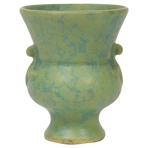 Mottled Green Urn-Style Art Ceramic Vase