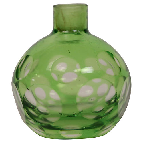 1920s Polka Dot Art Glass Cabinet Vase