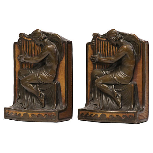1920s Roman Harpist Bookends