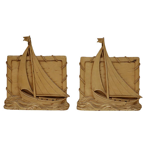 1920s Wood Sailboat Bookends, S/2