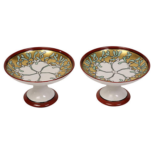 Hand-Painted French Compotes, Pair