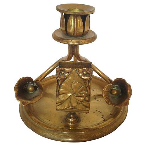 French Art Nouveau Floral Candleholder