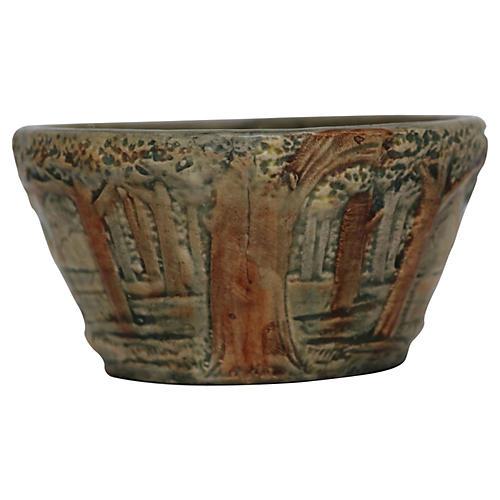 Art Pottery Bowl w/ Trees