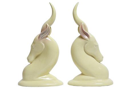 Art Deco Yellow Gazelles, Pair
