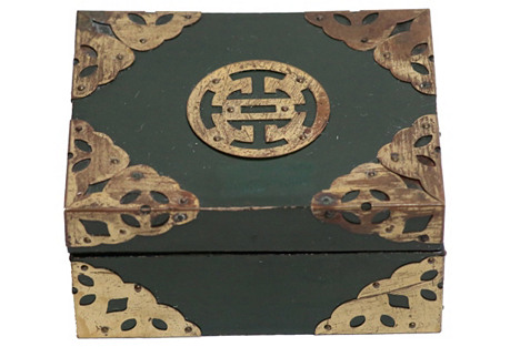 Chinese Green Lacquer & Brass Box