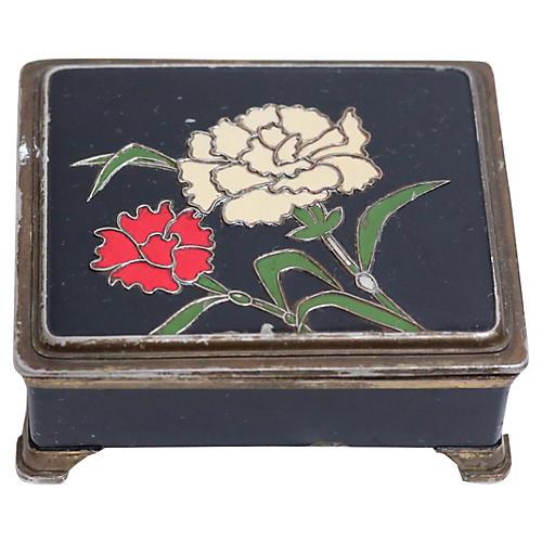 Enameled Floral Japanese Box