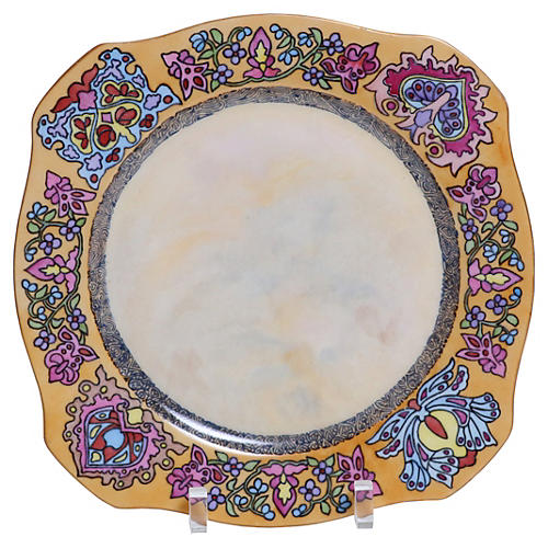 Hand-Painted Floral Porcelain Plate