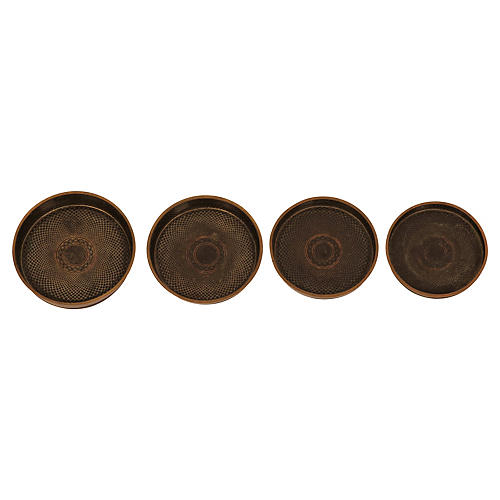 Bronze Nesting Trays, S/4