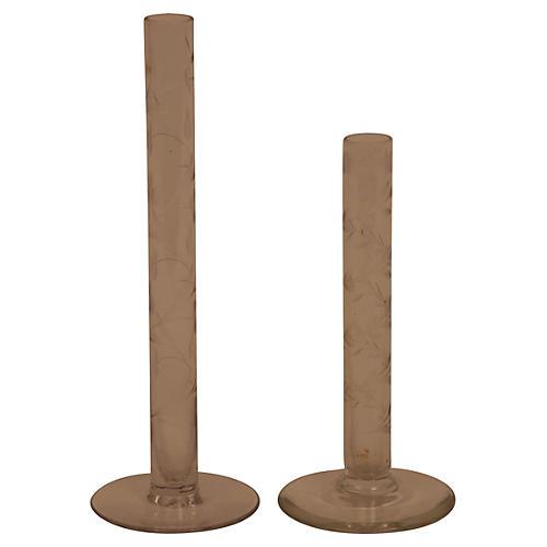 Etched Crystal Bud Vases, Pair