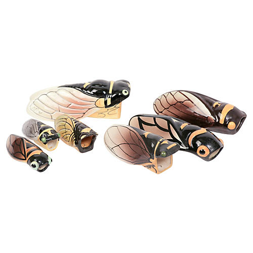 French Cicada Wall Vases, Set of 7