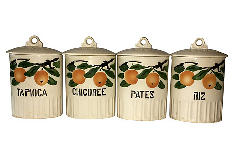 French Pottery Kitchen Canisters, S/4