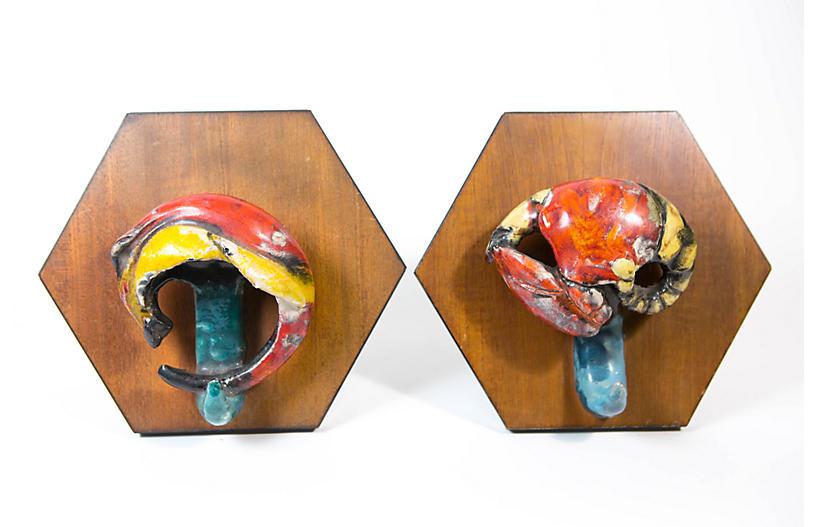 Italian Art Pottery Claw Hooks