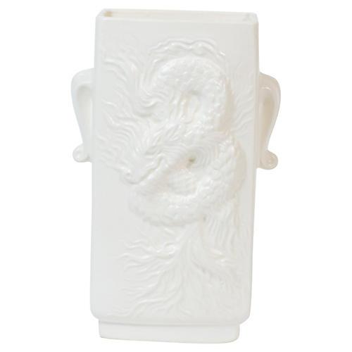 White Chinoiserie Dragon Vase
