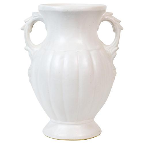 Urn-Style White Art Pottery Vase