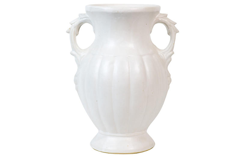 White Urn-Style Art Pottery Vase