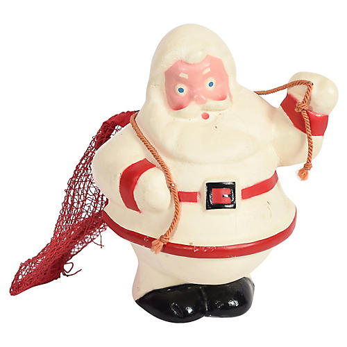 Rare Santa in White Suit w/ Mesh Bag
