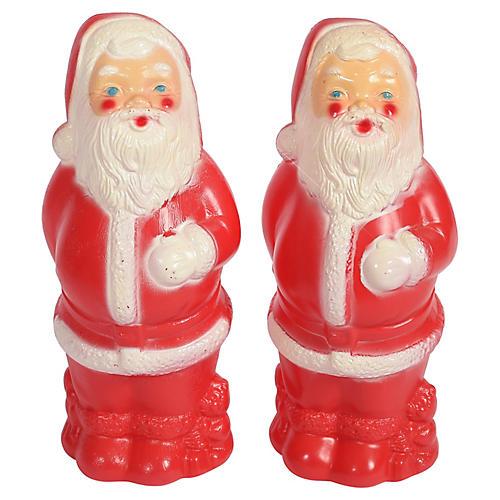 Plastic Blow Mold Santa Banks, Pair