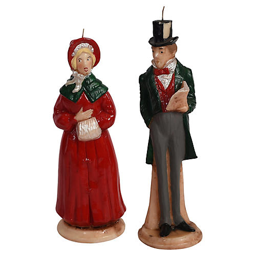 Large Caroler Candles, Pair