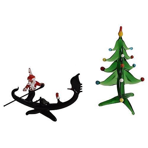 Venetian Glass Santa in Gondola & Tree
