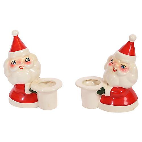 Ceramic Santa Claus Candle Holders