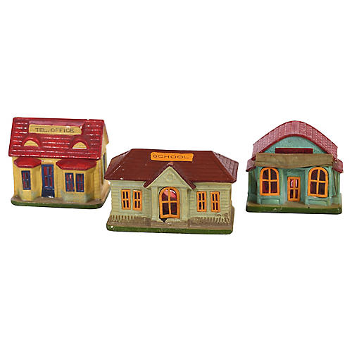 Trio of Papier Mache Buildings