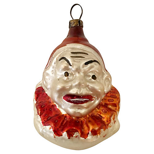Antique Blown Glass Clown Ornament