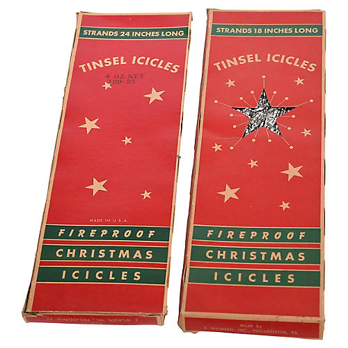 Boxes of Christmas Tinsel Icicles, Pair