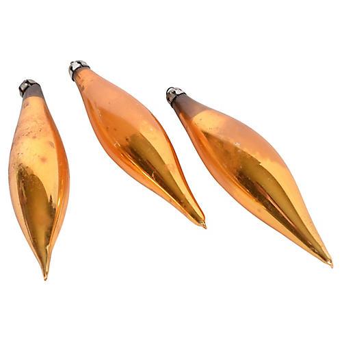 Trio of Gold Teardrop Ornaments